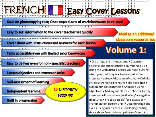 French Easy Cover Lessons- 10 lessons & cover sheets