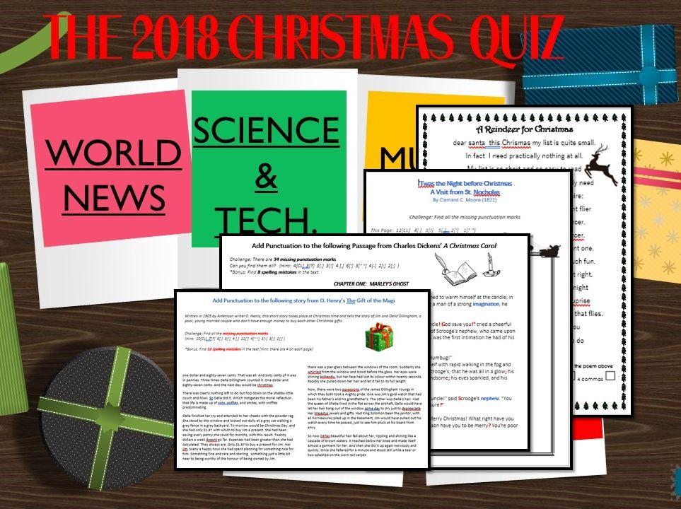 English SPAG Punctuation Christmas Pack + FREE XMAS QUIZ