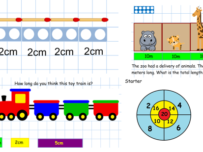 Measuring Numicon  Presentation IWB and mastery questions worksheet, some Numicon and cm/m Yr 1 EYFS