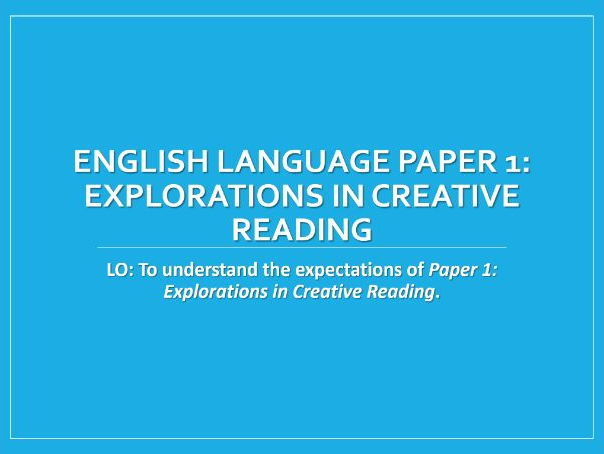 GCSE English Language Paper 1 (AQA) - Explorations of Creative Fiction - Scheme of Work