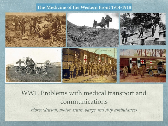 GCSE History of Medicine. WW1. Problems of transport and communication on Western Front