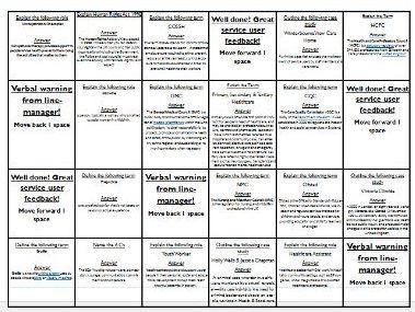Health & Social Care 2016 New Spec Revision board game (unit 2)
