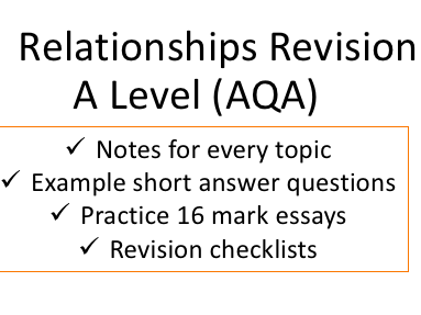 Relationships Revision Ultimate Bundle | A Level AQA New Spec