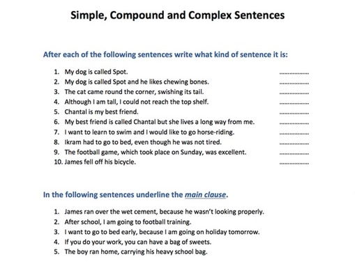 Simple compound and complex sentences by SkillsMastery Teaching – Simple and Complex Sentences Worksheet