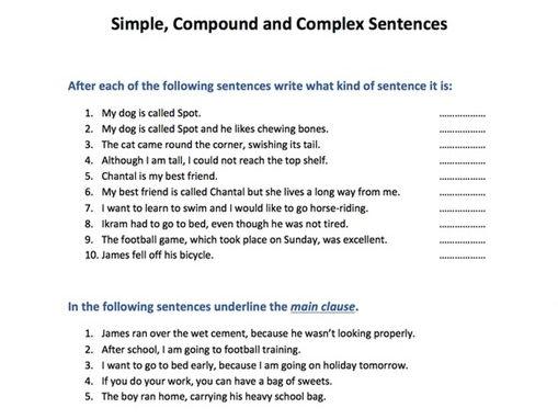 Compound complex sentences worksheet ks2