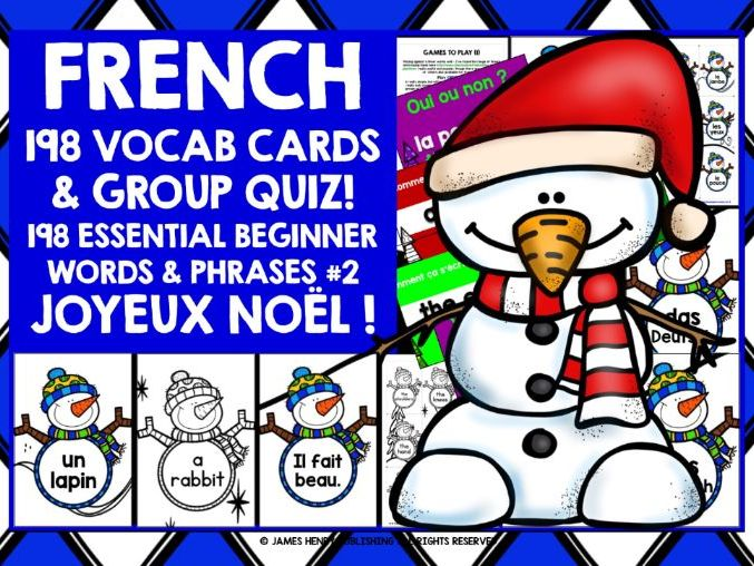 FRENCH VOCABULARY CHRISTMAS GAMES CARDS & QUIZ #2