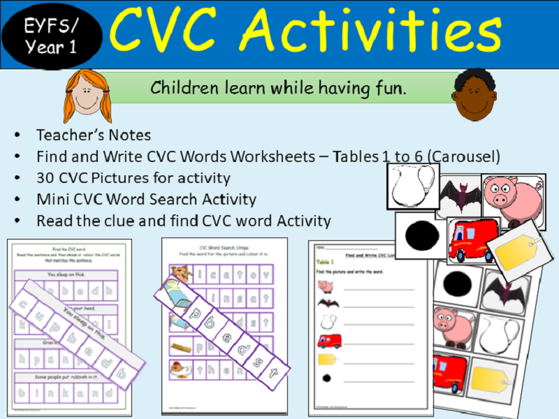 CVC Words: Activities, Picture Cards, CVC Find/Colour, Phonics Read/Write Tasks- Reception/Year 1