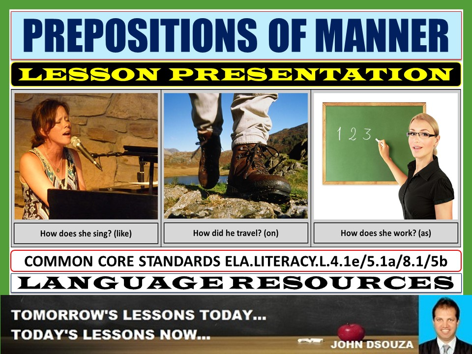 PREPOSITIONS OF MANNER LESSON PRESENTATION