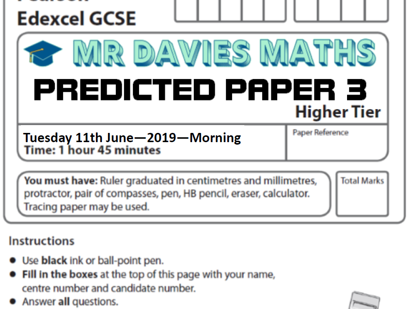 2019 HIGHER MATHS Predicted Paper 3 - Edexcel 11th June - With Answers!