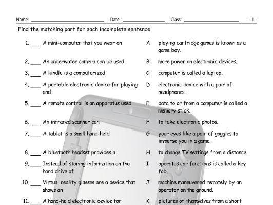 Technology-Gadgets Sentence Match Worksheet