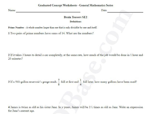 Brain Teasers Worksheet SE2 - Math problems & puzzles (Somewhat Easy)