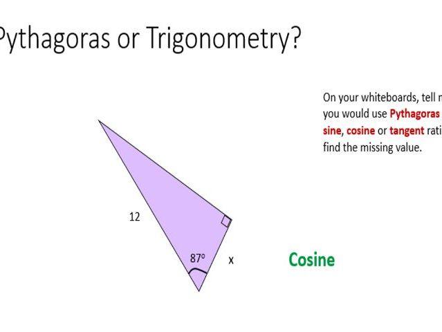 Trigonometry or Pythagoras triangle sketch
