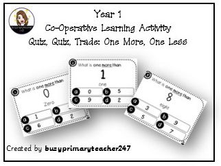 Year 1-Place Value - One More, One Less. Quiz Quiz Trade Activity