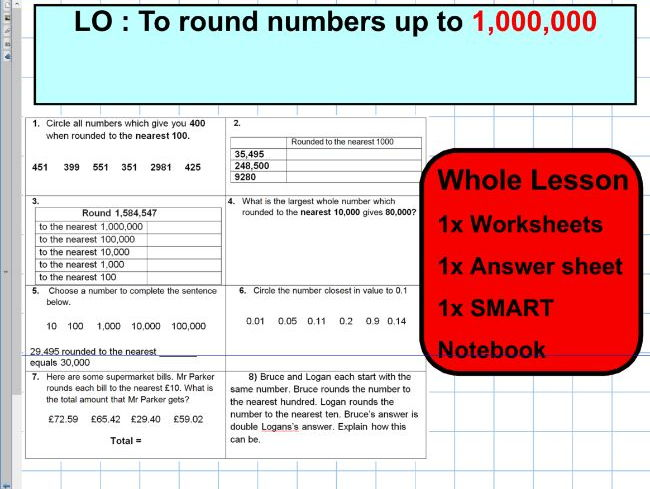 Round numbers up to a million - KS2 - rounding numbers - notebook - WHOLE LESSON