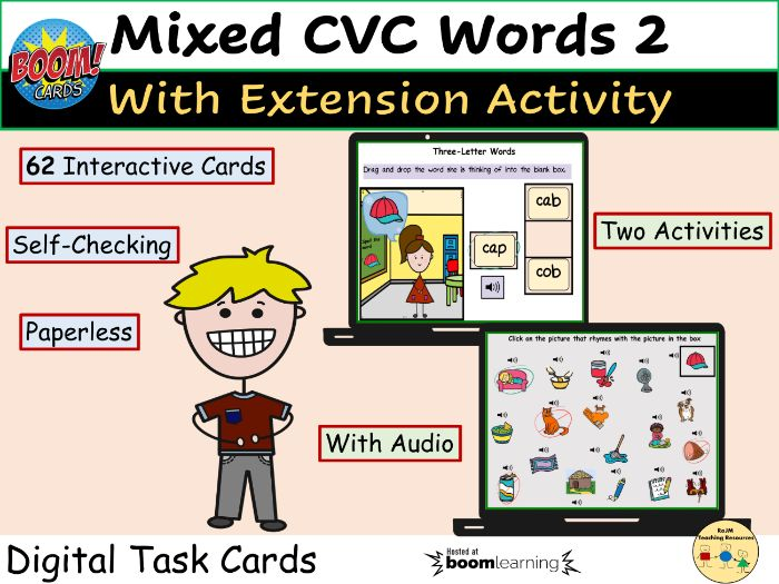 CVC Words Match Words to Picture and Picture Rhyme BOOM Cards Home Distance Learning