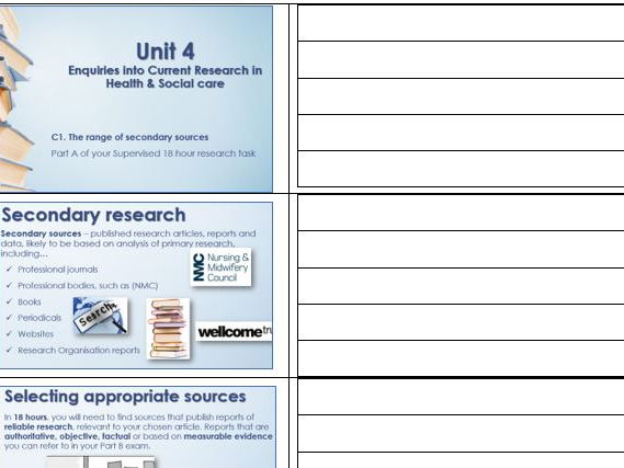 BTEC Level 3 Health and Social Care Unit 4 Enquiries into Current Research in HSC Learning Aim C