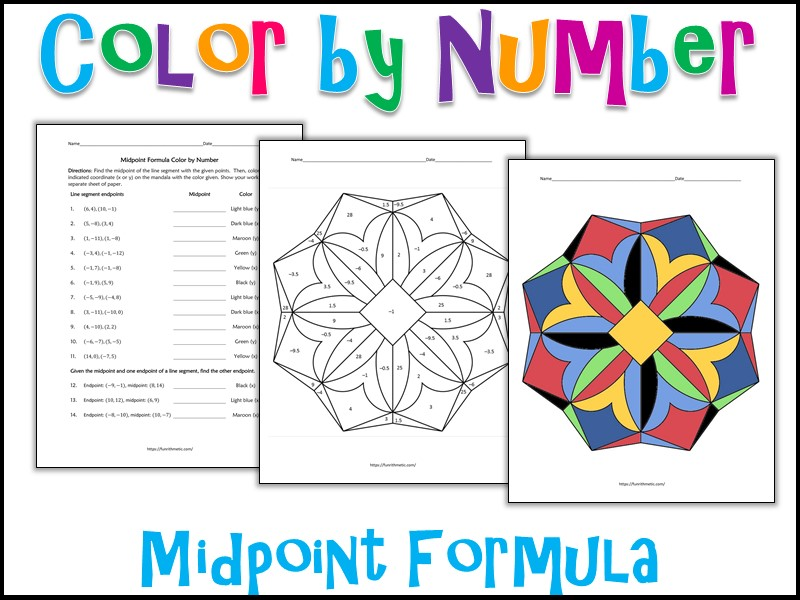 Midpoint Formula Color by Number
