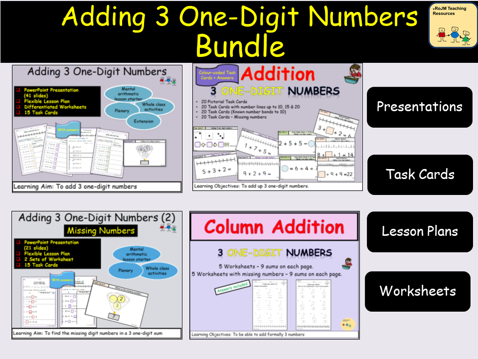 Addition: Adding 3 One-Digit Numbers, Presentations, Lesson Plans, Worksheets, Activities, Task Cards Bundle