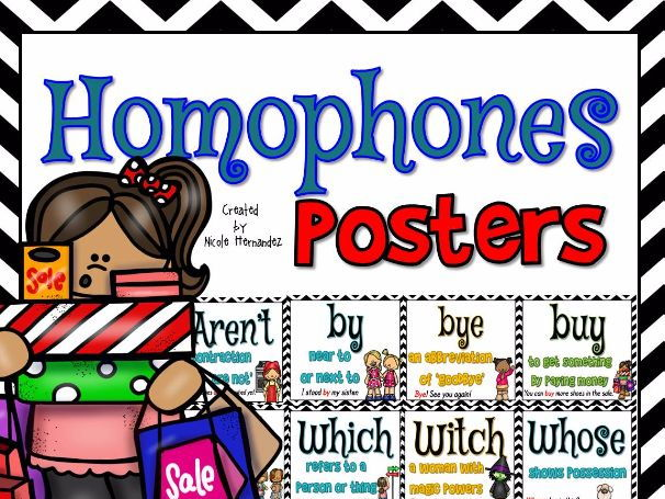 Homophone Posters: Set 2  (35 Colored Posters Including By/Buy/Bye)