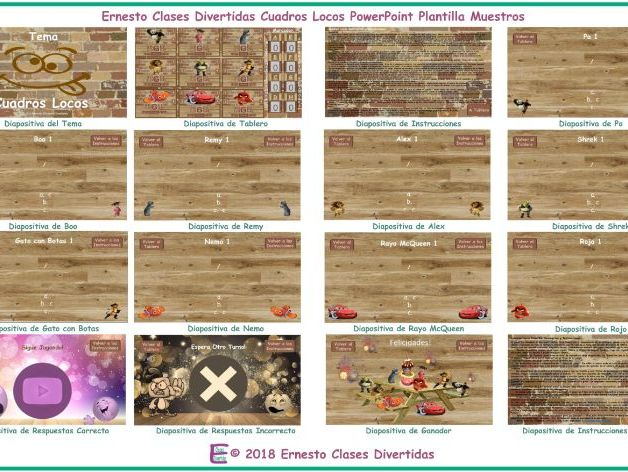 Crazy Squares Spanish PowerPoint Game Template FREE READ ONLY SHOW