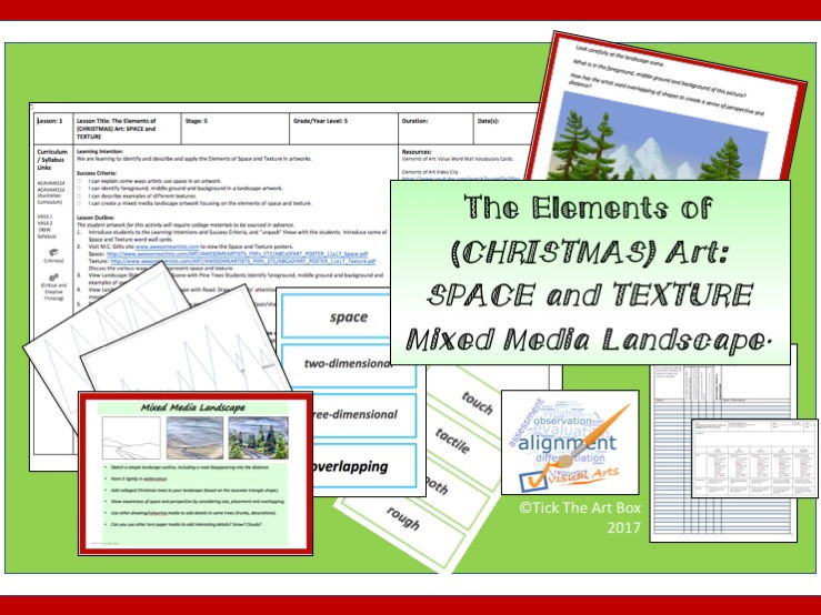 Elements of (Christmas) Art: Space and Texture (Mixed Media Landscape)