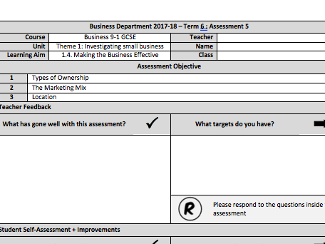 Edexcel GCSE Business 9-1:Theme 1: Section 1.4 - End of Unit Assessment and Mark Scheme