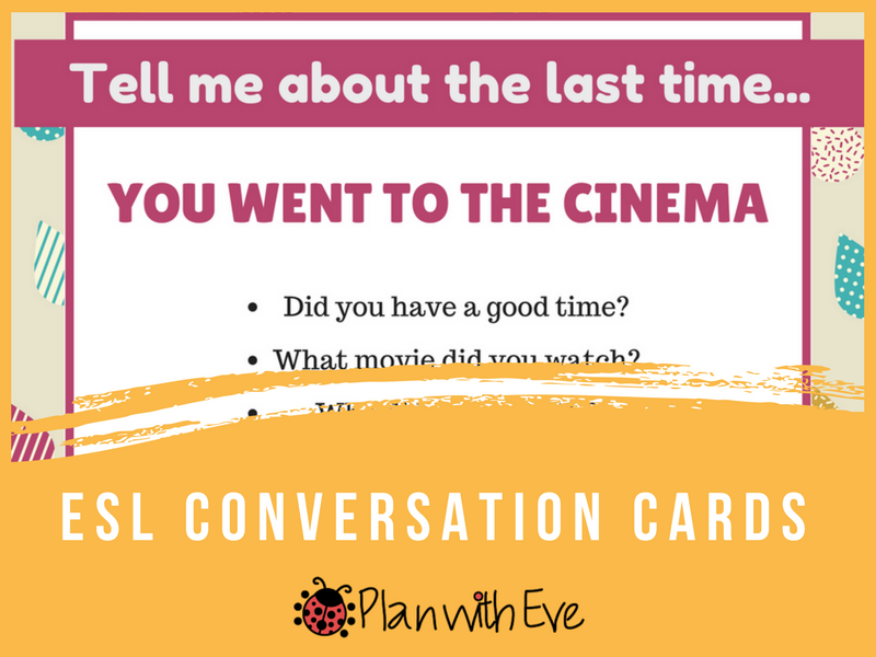 "ESL Past Simple Conversation Cards: ""Tell me about the last time..."""