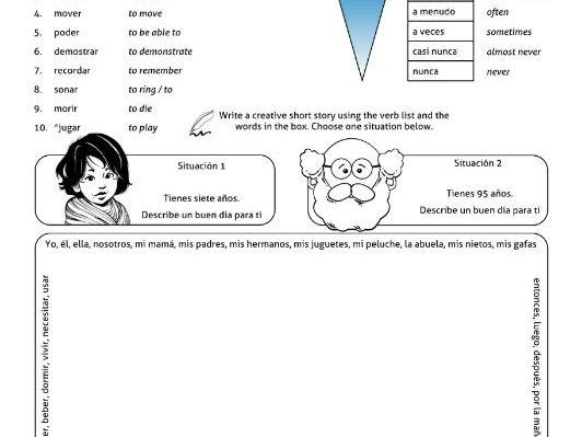 Spanish Creative Writing Activity * Escribir * MORE Present Stem Changing Verbs O>UE * Verbos