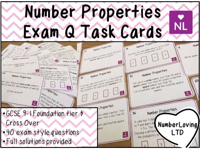 Number Properties Factors, Multiples, Digits GCSE 9-1 Exam Question Task Cards