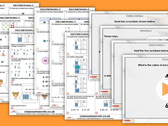 Year 2 Add 2-Digit Numbers 2 Autumn Block 2 Step 12 Maths Lesson Pack