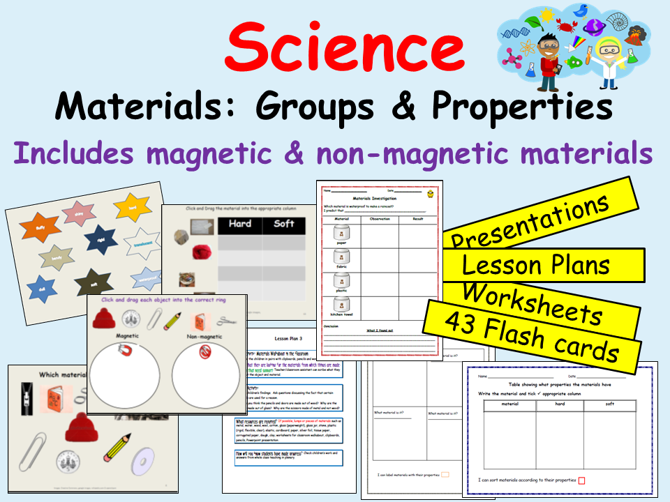 Science- Sorting, describing/investigating materials waterproof and magnetic, flashcards- Keystage 1