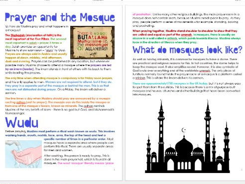 Islam: Prayer and the Mosque: Differentiated Information and Acitivities