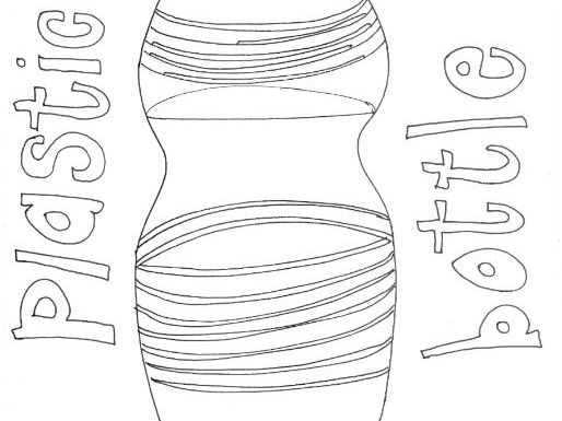 Plastic Bottle :Recycling and Materials Colouring Page