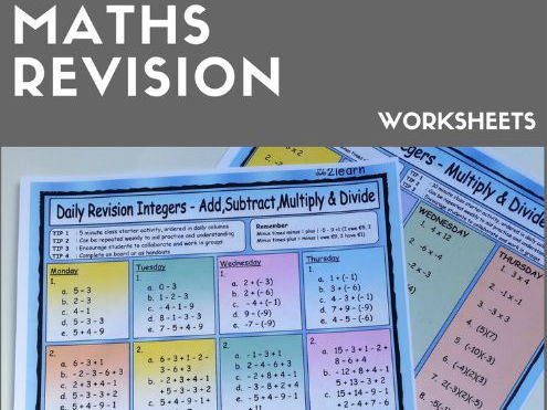 Maths Daily Revision Worksheets - Integers - FULL SET - Add * Subtract * Multiply * Divide * etc
