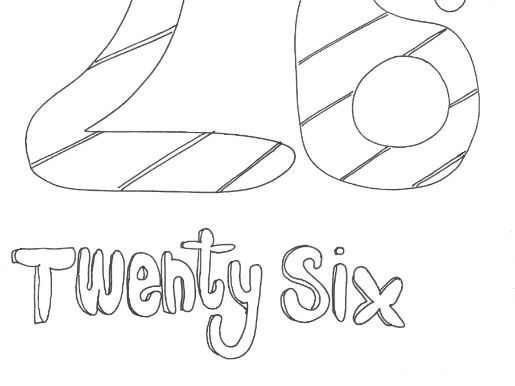 Twenty Six: Numbers: Colouring Page