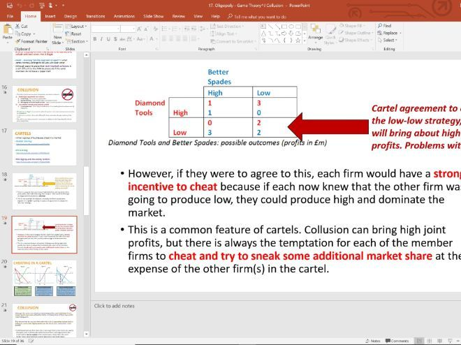 17. Game Theory & Collusion (Slides, Activities and Notes) - Edexcel A-Level Economics - Theme 3