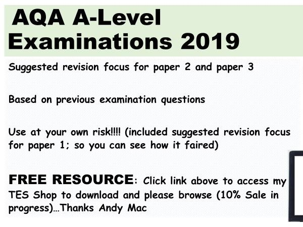 AQA, Psychology A-Level Exams, suggested focus for revision