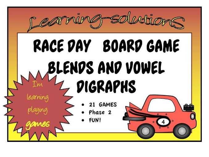 PHONICS - RACE DAY BOARD GAME - 21 Games - Blends and Vowel Digraphs - Phase 2