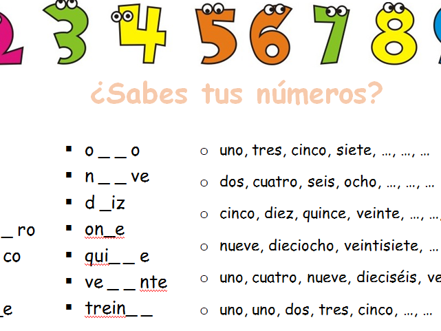 Los Numeros - numeracy worksheet spanish