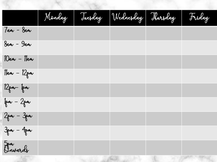 Weekly Timetable for Trainee's/NQTs