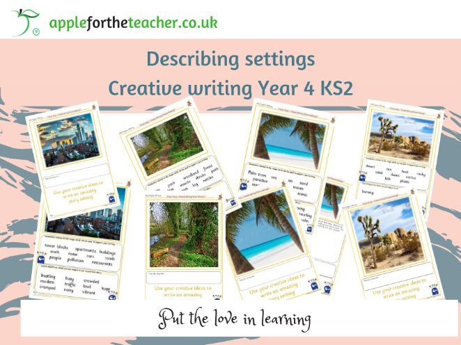 Describing Settings prompt support worksheets Year 4 KS2 creative writing support