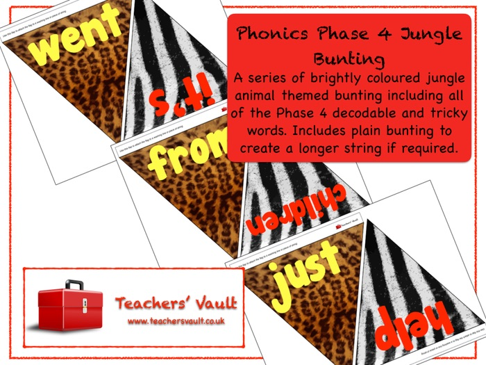 Phonics Phase 4 Jungle Bunting Display