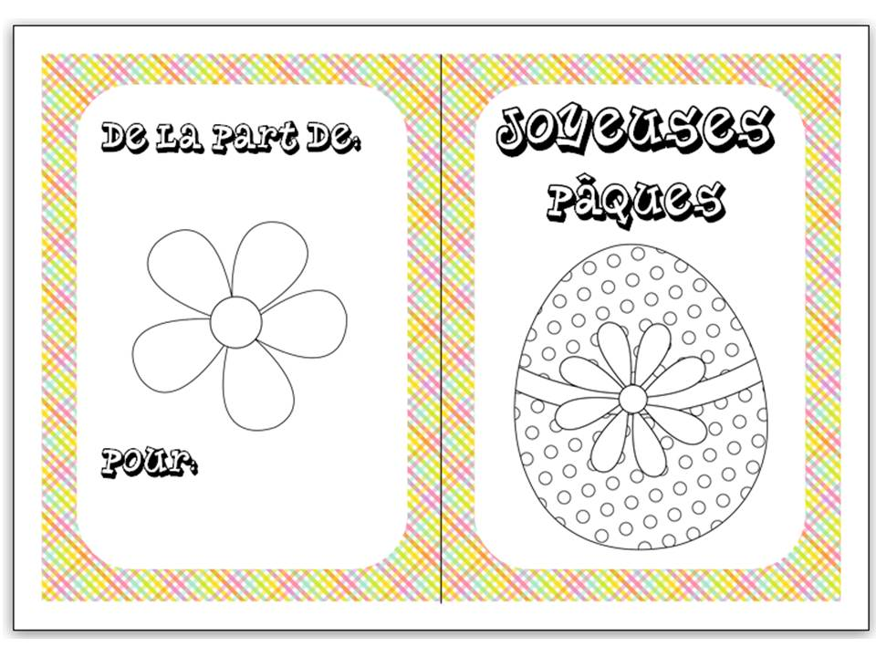 Easter colouring cards in French 2