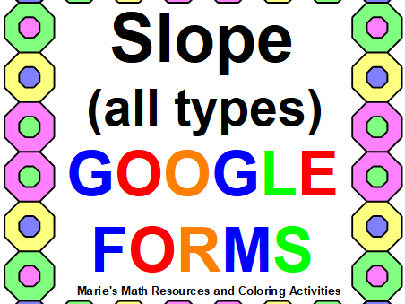 SLOPE (ALL TYPES): GOOGLE FORMS QUIZ DISTANCE LEARNING (20 PROBLEMS)
