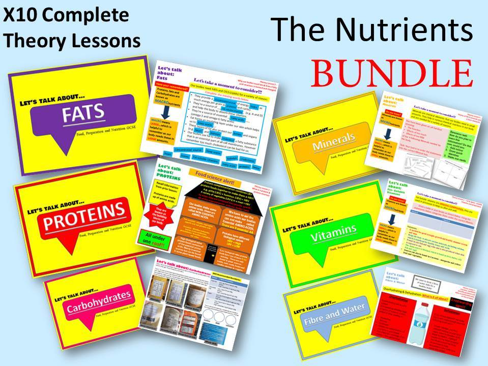 Food, Preparation and Nutrition - The Nutrients BUNDLE - x10 Complete Lessons