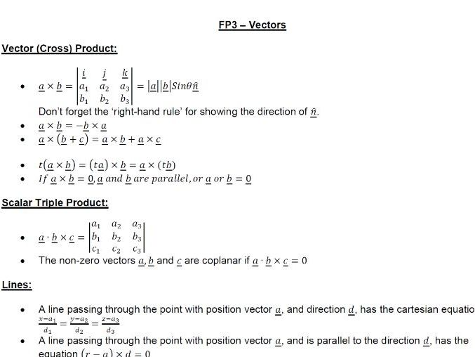 Further Pure Mathematics Vectors - pdf