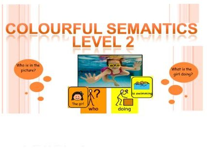 Colourful Semantics activity pack (34 pics) Level 2 for SLD learners