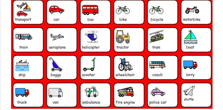 Types of Transport - Symbol Word Grid - SEN or Lower Ability