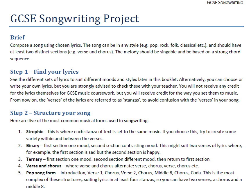GCSE Songwriting