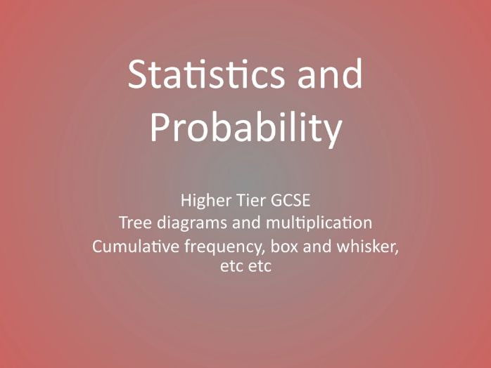 GCSE Mathematics Statistics and Probability Higher Tier Revision workbooks